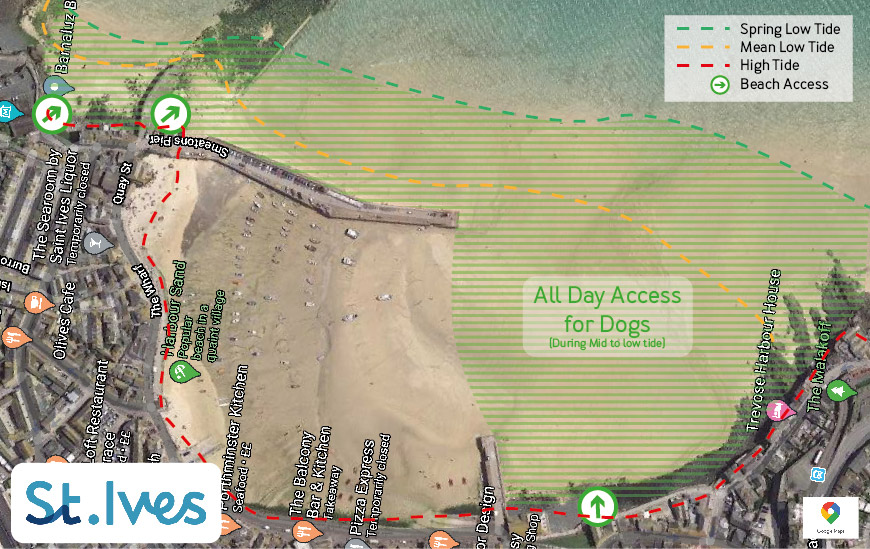 Dogs in St Ives Beach Map