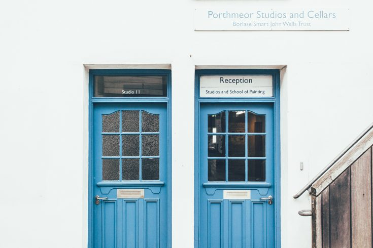 Blue doors of the Porthmeor Studios St Ives