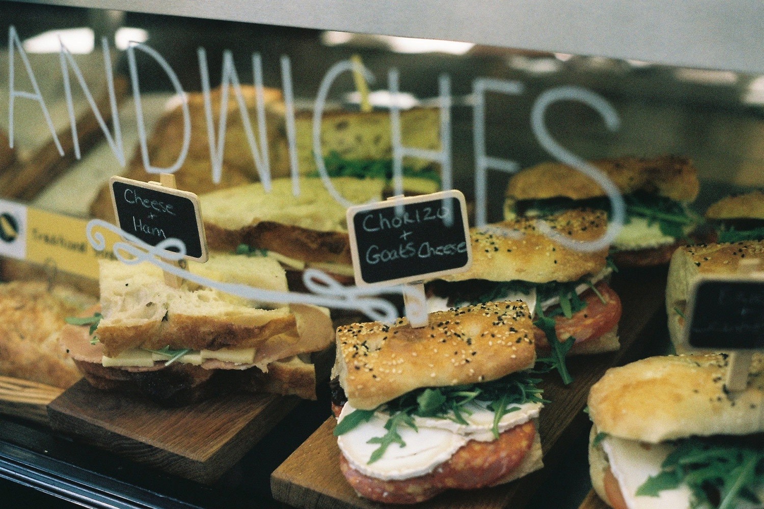 Sandwiches in café windows in St Ives