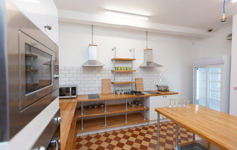 Newly refurbished kitchen of hostel in St Ives
